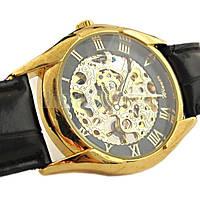 Мужские механические наручные часы скелетоны Winner Super Black