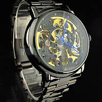 Мужские механические наручные часы скелетоны с автоподзаводом SHENHUA Black