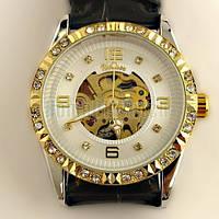 Женские механические наручные часы со стразами Winner c автоподзаводом