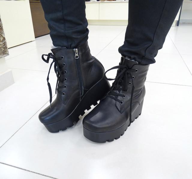 Кожаные зимние женские ботинки на платформе Donna Ricco №02-37, цена ... cae6fc11bf7