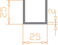 Алюминиевый швеллер п-образный 25х25х2 анодированный (AS)