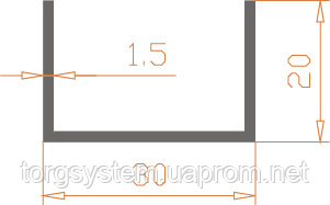 Алюмінієвий швелер п-подібний 30х20х1,5 анодований (AS)