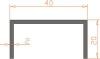 Алюмінієвий Швеллер П-подібний ПАС-1092 40х20х2 / AS Срібло