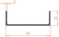 Алюмінієвий Швеллер П-подібний ПАС-0056 90х30х3 / AS Срібло