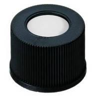 Закручивающиеся крышки для виалей N 13, в комплекте с септами Крышка Чёрные, глухие Септа Белый силикон / красный ПТФЭ Твердость 40° по Шору (A) Толщи