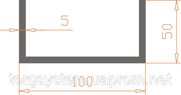 Алюмінієвий швелер п-подібний 100х50х5 анодований (AS)