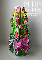 Свеча резная орхидея, ручной работы
