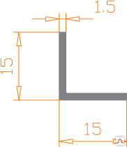 Алюминиевый уголок 15х15х1,5 анодированный (AS)