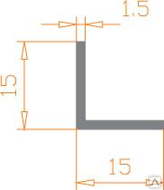 Алюмінієвий куточок 15х15х1,5 анодований (AS)