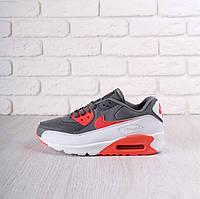 Кроссовки мужские Nike Air Max 90 Black Grey/Red/White (найк аир макс 90)