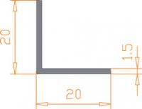 Алюмінієвий Кутник ПАС-1102 20х20х1.5 / AS Срібло