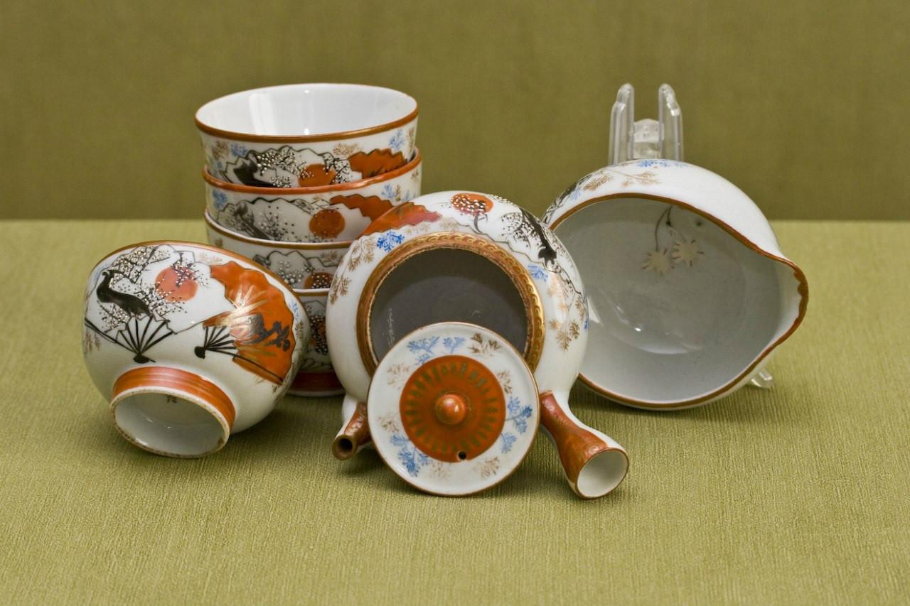 Набор для чая сентя с веерами и ветками Япония период Тайсё 1900е годы