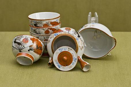Набор для чая сентя с веерами и ветками Япония период Тайсё 1900е годы, фото 2