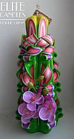 Свеча ручной работы - резная с орхидеей, цвета орхидеи, подарочная, 22 см высотой