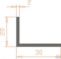 Алюминиевый уголок 30х20х2 анодированный (AS)