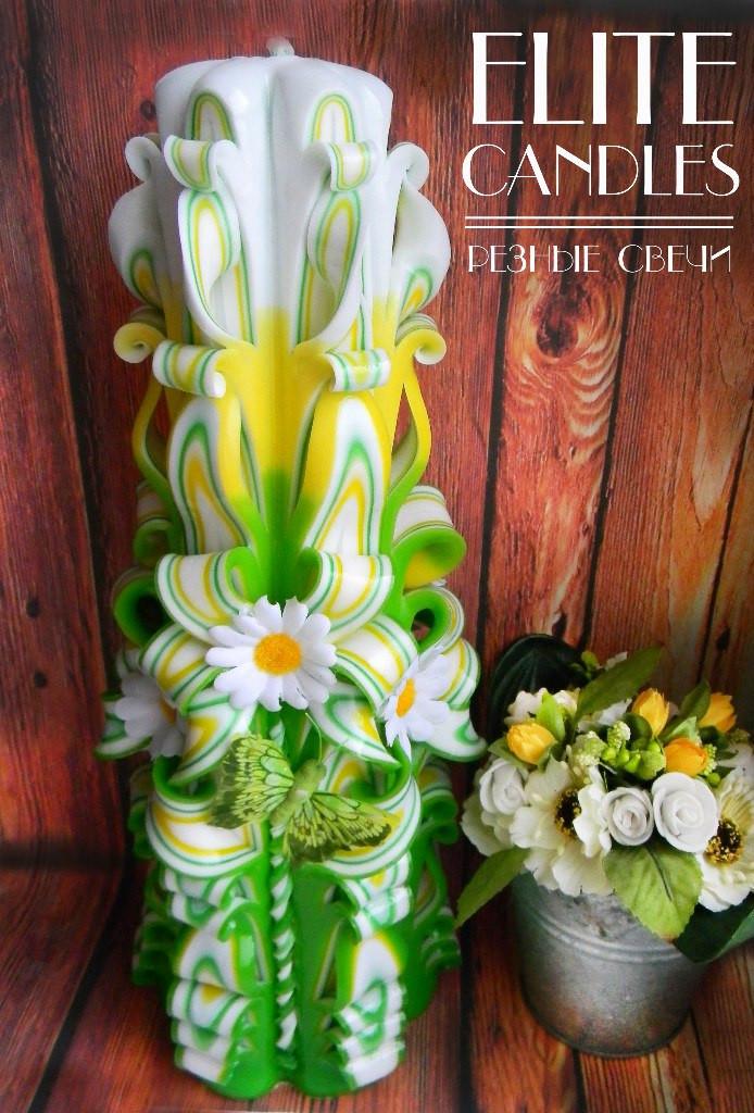Резная мастерская свеча, ручная работа, большая подарочная, сувенирная, 30 см высотой