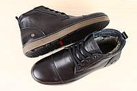 Ботинки мужские кожаные, зимние на шнурках, черные