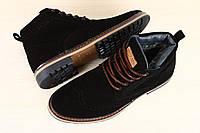 Ботинки мужские оксфорды, замшевые, зимние со шнурками, черные, на меху