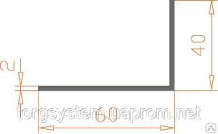 Алюмінієвий куточок 60х40х2 анодований (AS)