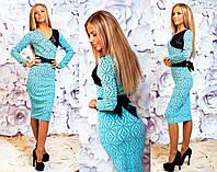 """Элегантное женское платье средней длины 117 """"Жаккард Пояс Кожа"""" в расцветках"""