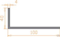 Алюмінієвий Кутник ПАС-1268 100х40х4 / AS Срібло