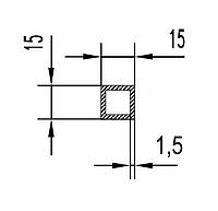 Алюмінієва Труба квадратна ПАС-1865 15х15х1.5 Без покриття