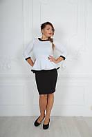 Платье трикотажное контрастное с баской 56 Батал! (БН)