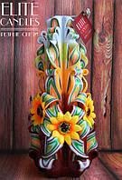 Резная свеча ручной работы, с желтыми ромашками, красивых цветов, подарочная, сувенирная, 22 см высотой