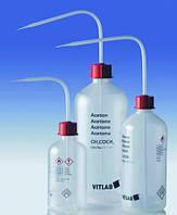 Безопасные промывалки с узкой горловиной VITsafe с маркировкой, PP/PE-LD Этикетка Толуол Объем 500 мл Резьба 25 GL Материал PE-LD