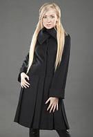 Оригинальное пальто с планочкой и низом со складами