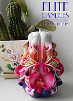Яркая Свеча ручной работы с орхидеей, 12 см высотой
