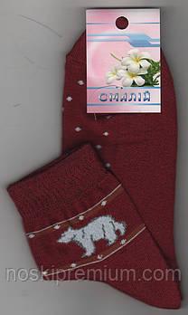 Носки женские махровый след х/б Смалий, 23-25 размер, рисунок 01 бордовые