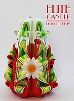 Свеча ручной работы с белыми ромашками, сувенирная на подарок, 12 см высотой