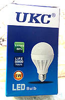 Лампа светодиодная энергосберегающая LED E27 5W (Белый свет) UKC