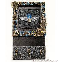 Ключница настенная ручной работы Подарок в стиле лофт, фото 1