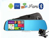 """Зеркало c 5.0"""" дюймовым экраном на android 4.0 +камера заднего вида gps-навигатор, gps регистратор"""