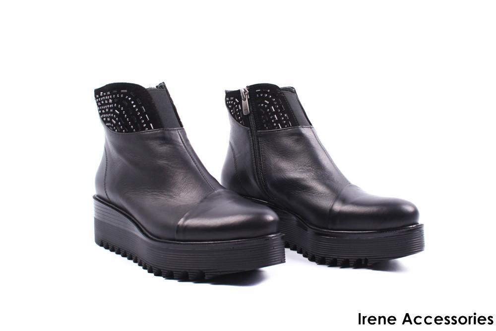 ee3fc455f Ботинки женские кожаные Aquamarin (ботильоны комфорт, стильные, платформа,  байка, черные,