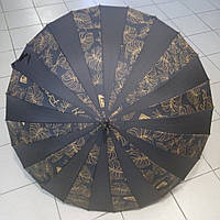 Зонт-трость женский, черный, 24спицы, купол 104 см