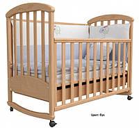 Детская кроватка ВЕРЕС  ЛД 9 качалка колеса ,цвет белая ,сл кость, орех ,бук.