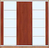 Шкаф-купе трехдверный с комбинированными фасадами из ДСП, зеркал и матовых зеркал на 2 двери