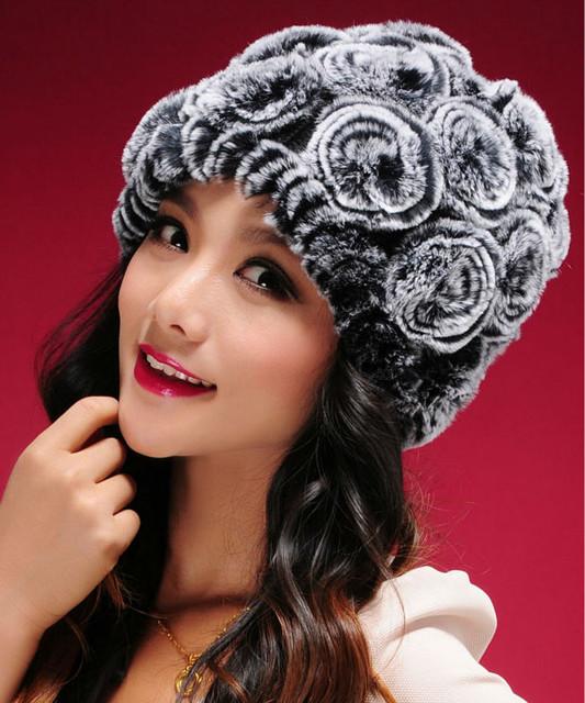 Женская меховая шапка из кролика. Натуральный мех