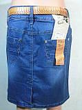 Женская джинсовая юбка до колена длинной, фото 3