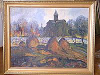"""Картина """"Пейзаж с церковью"""", Давид Габишвили 1970-е годы"""