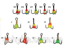 Крючки-тройники для приманок LUCKY JOHN с каплей цветной 10 шт-упаковка