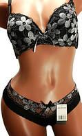 Комплект женский нижнего белья: бюстгальтер ажурный чашка С и трусики плавки - слипы. Розница, опт.