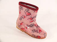"Резиновые сапоги детские Verona кант ""Сердечки на розовом"""
