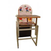 Стульчик для кормления деревянный Sofia Eco ST-8 розовый, стульчик-трансформер