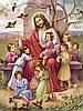 Схема для повної вишивки бісером Ісус благословляє дітей