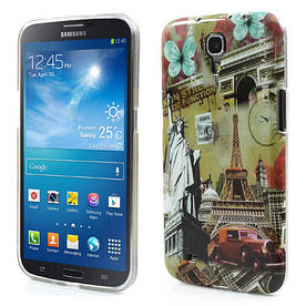 "Чехол накладка на на Samsung Galaxy Mega 6.3 I9200, ""Эйфелева башня и статуя свободы"""