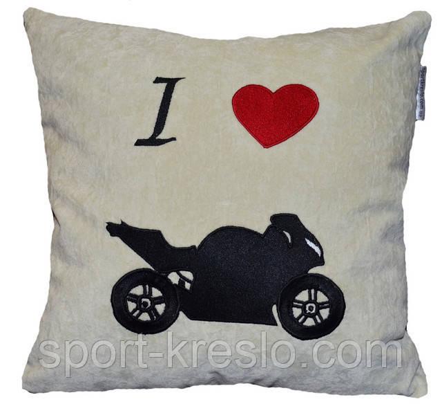 Автомобільна декоративна подушка з вишивкою мотоцикла